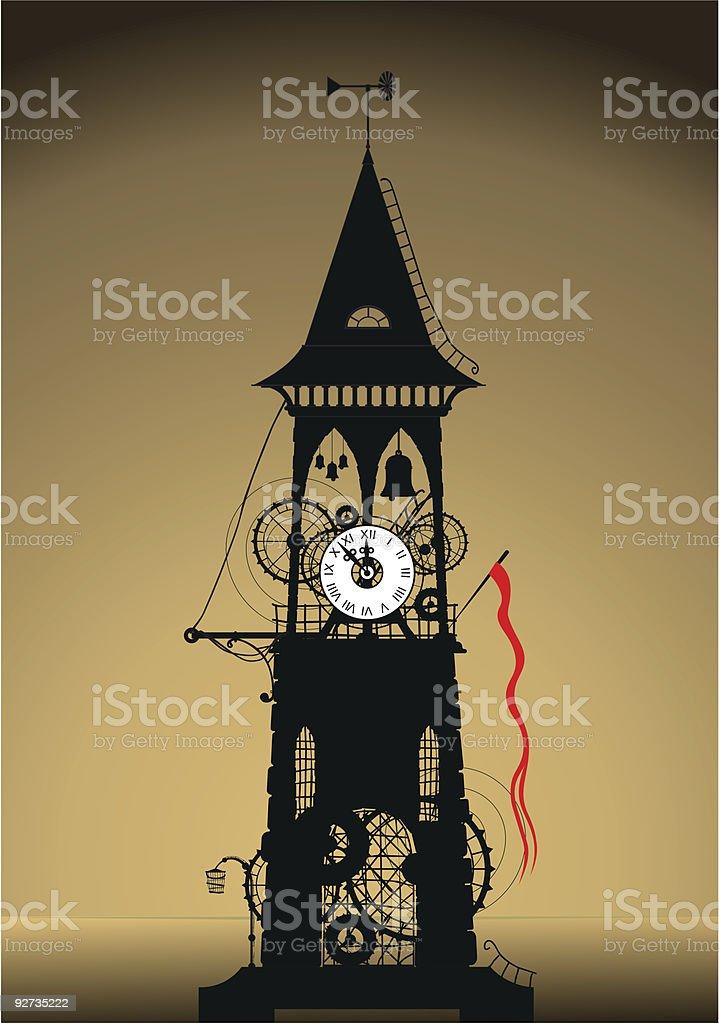 Grunge Watch Tower vector art illustration