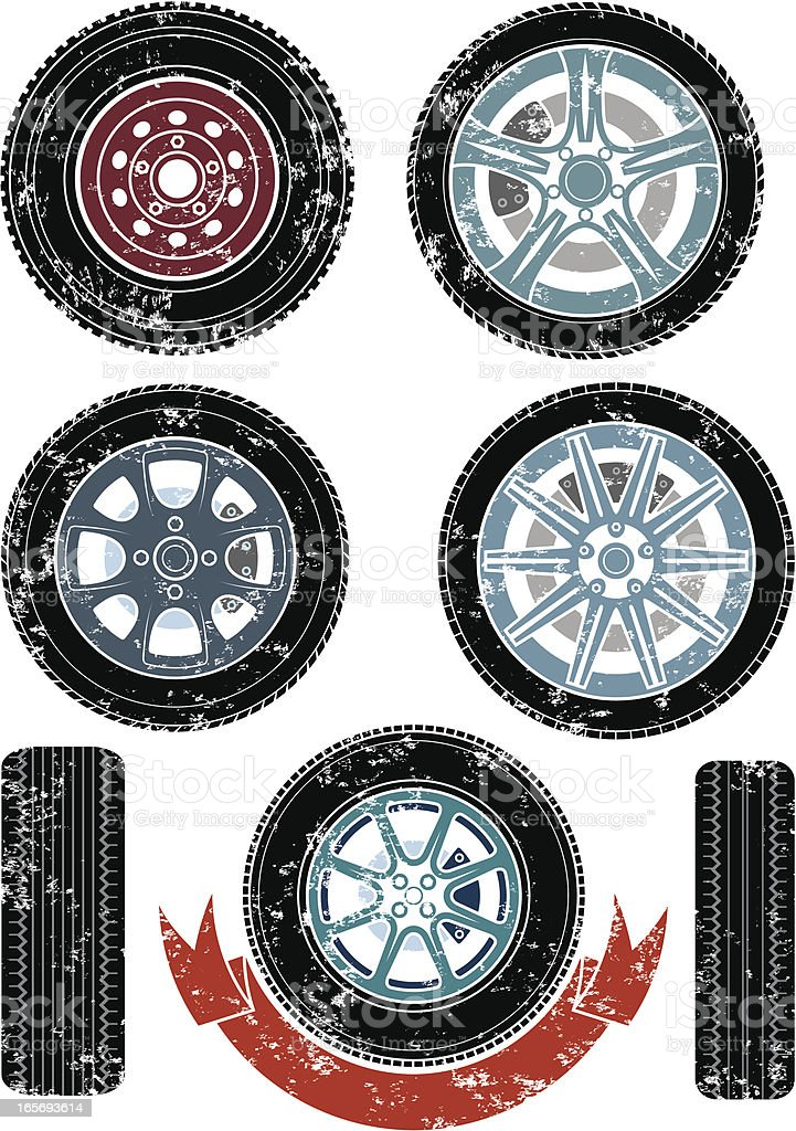 Grunge wheels and tyres royalty-free stock vector art