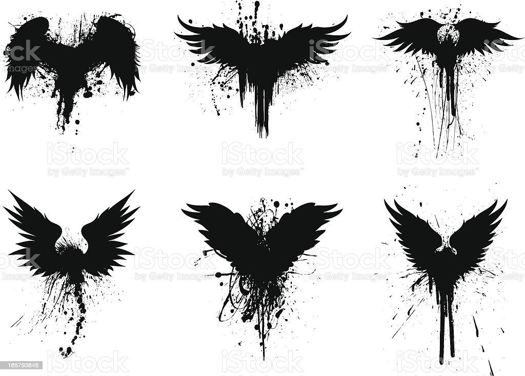 grunge wings vector art illustration