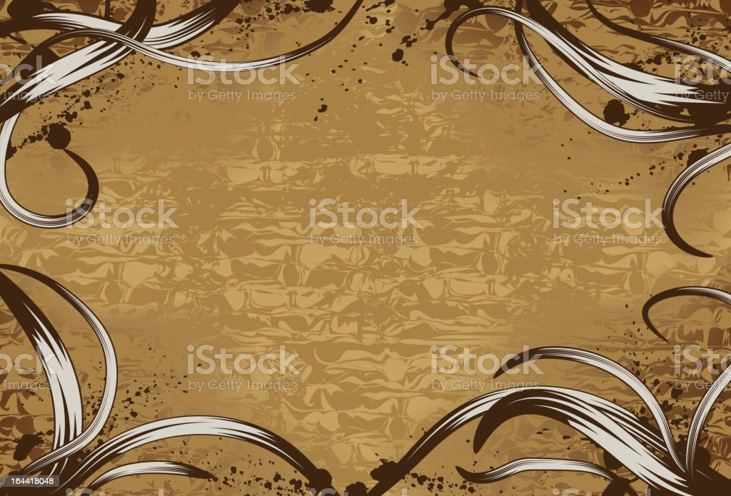 Grunge wood background with hand drawn swirls royalty-free stock vector art