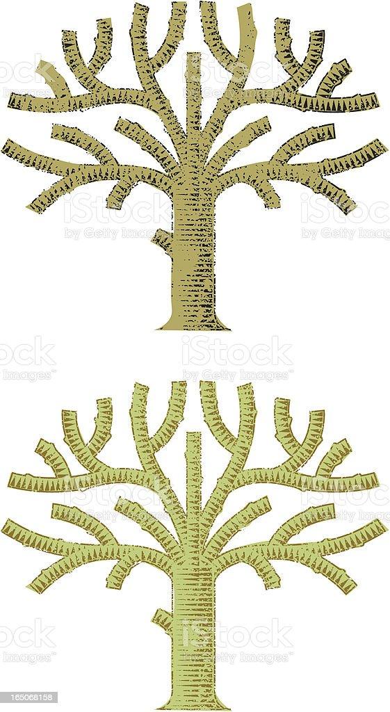 Grunge woodcut tree royalty-free stock vector art