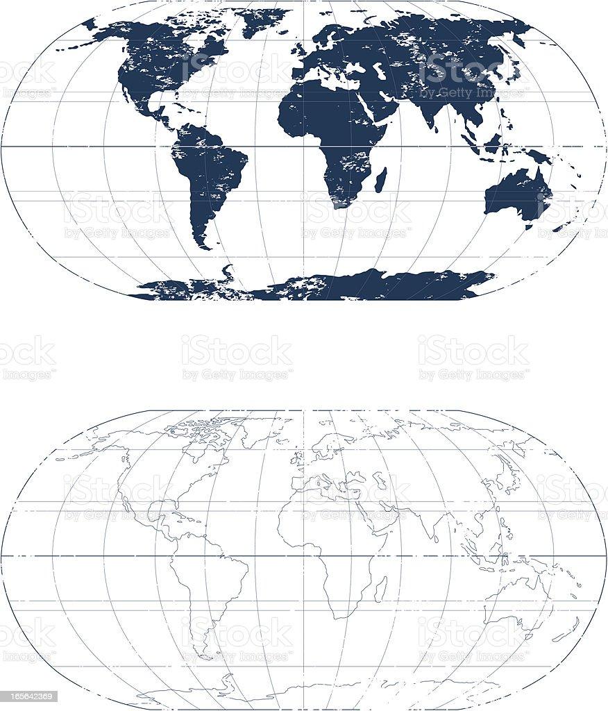 Grunge world mono map. vector art illustration