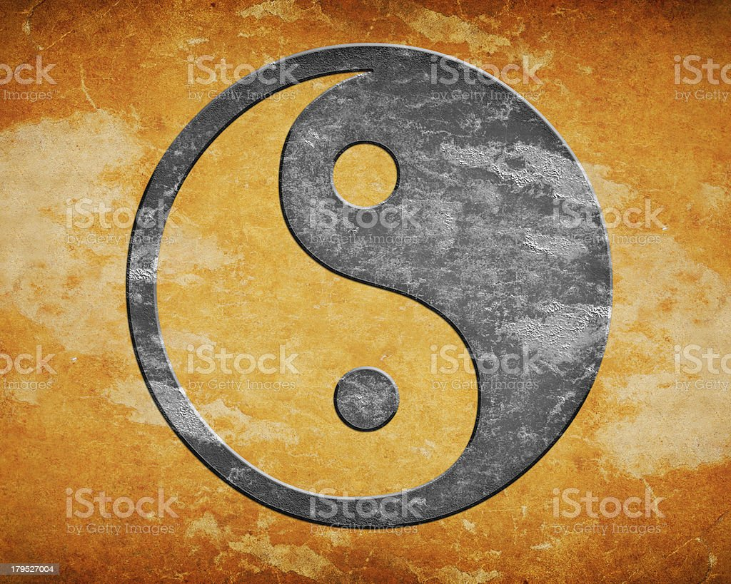 Grunge yin yang symbol royalty-free stock vector art