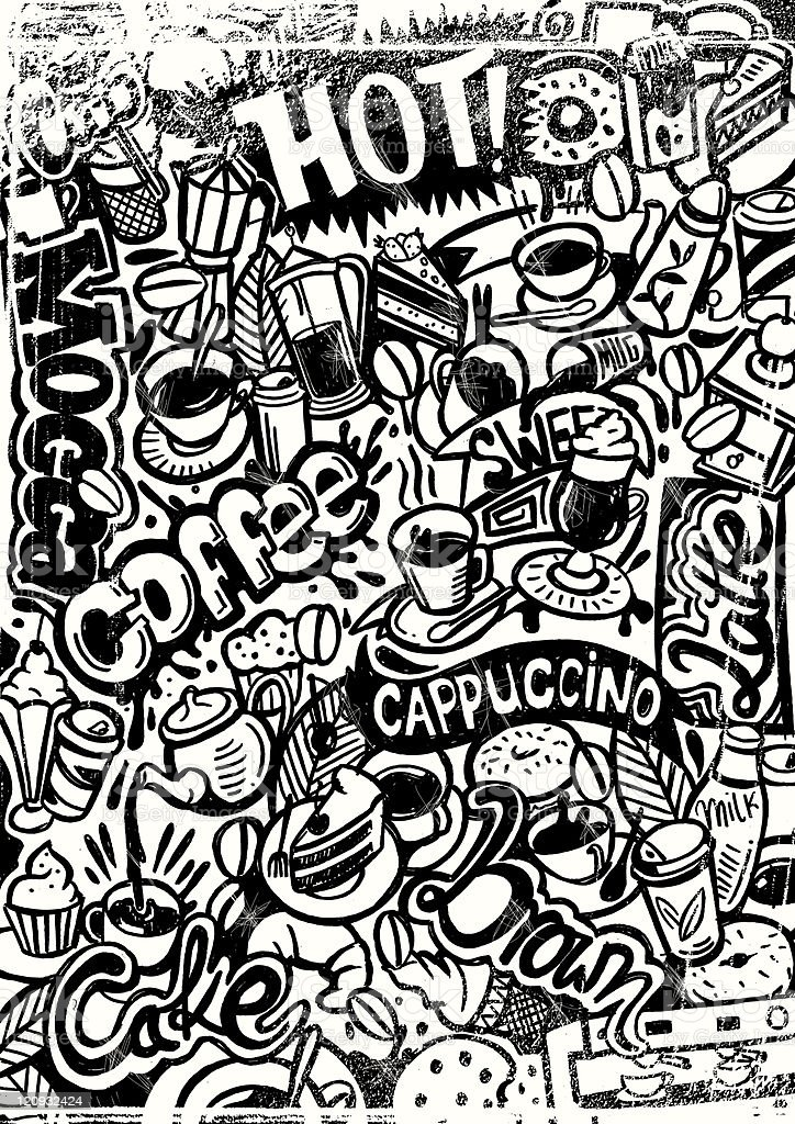 grungy coffee doodle royalty-free stock vector art