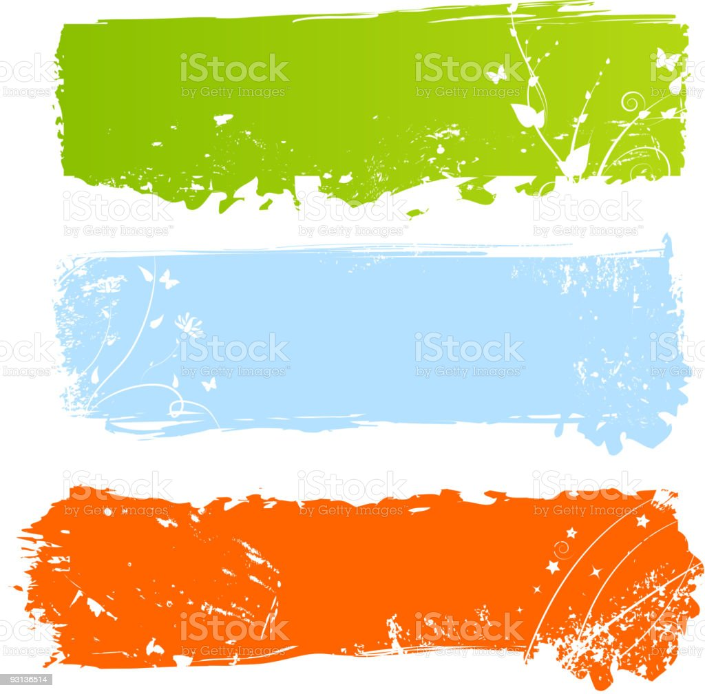 Grungy multicolored banners with florals royalty-free stock vector art
