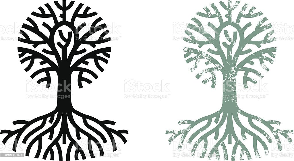 Grungy tree and roots royalty-free stock vector art