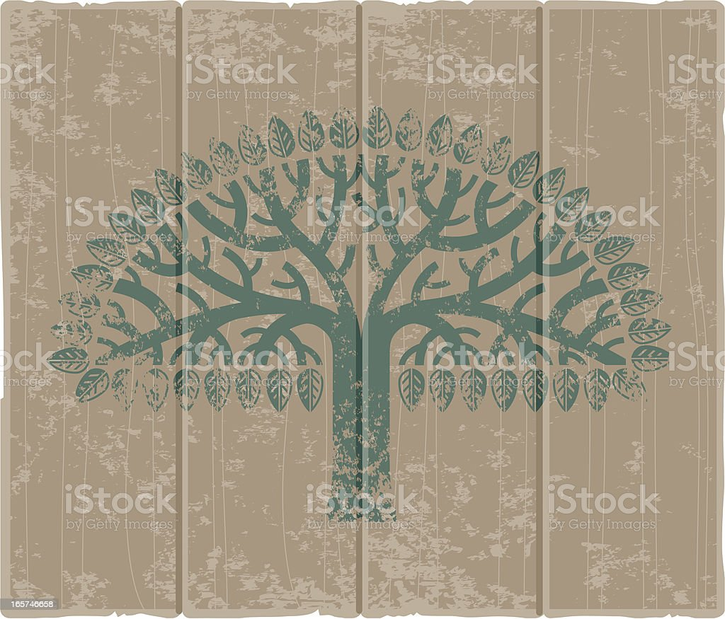 Grungy tree sign vector art illustration