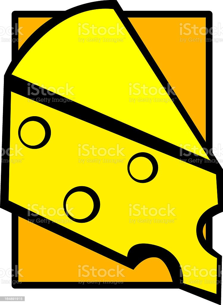 gruyere cheese slice vector art illustration