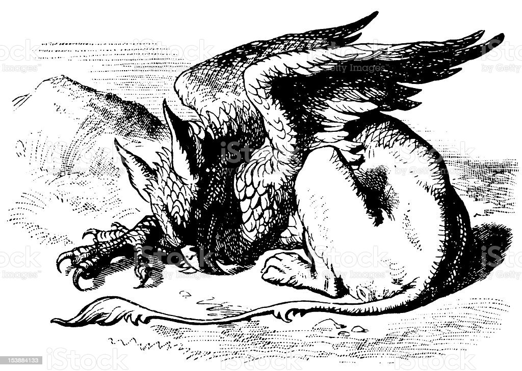 Gryphon illustration, (Alice's Adventures in Wonderland) vector art illustration