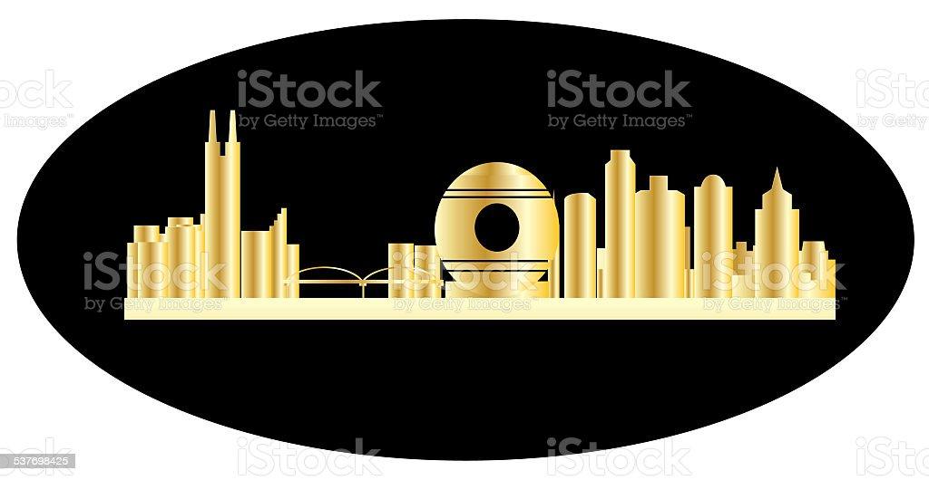 guangzhou city skyline vector art illustration