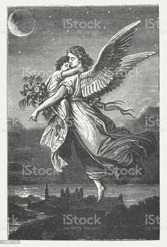 Guardian angel, wood engraving, published in 1881 vector art illustration