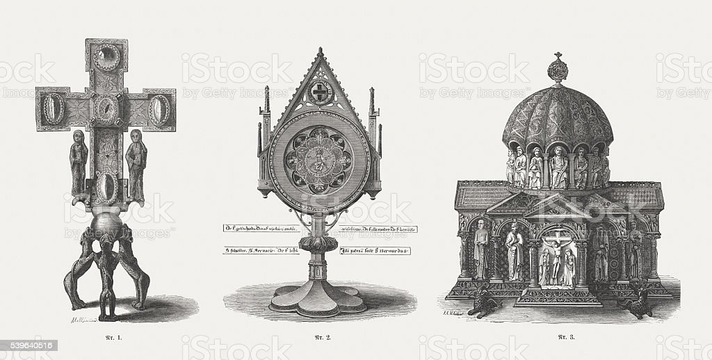 Guelph Treasure (Welfenschatz), medieval ecclesiastical art, wood engravings, published 1869 vector art illustration