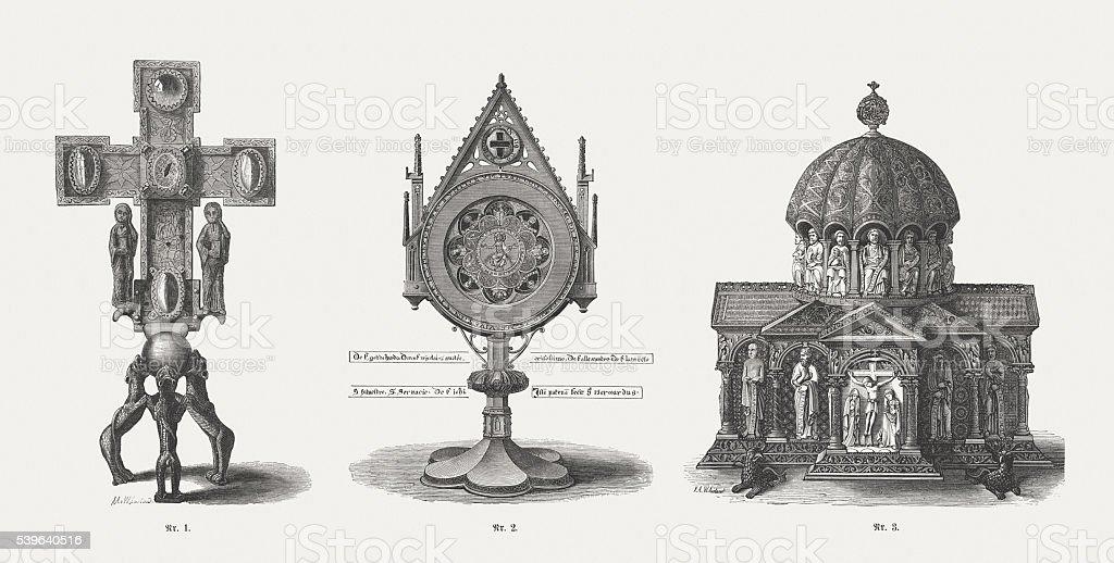 Guelph Treasure (Welfenschatz), medieval ecclesiastical art, wood engravings, published 1869 vector art illustration