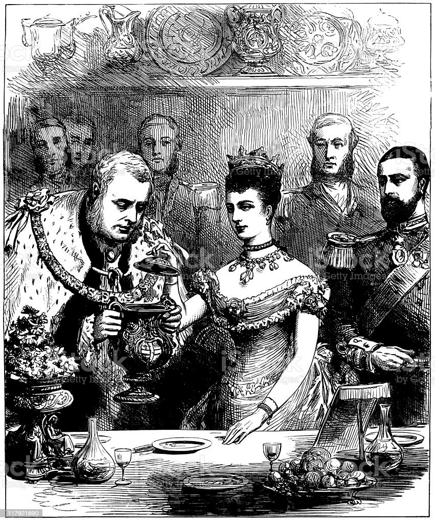 Guildhall banquet for Prince, Princess of Wales, Illustrated London News vector art illustration