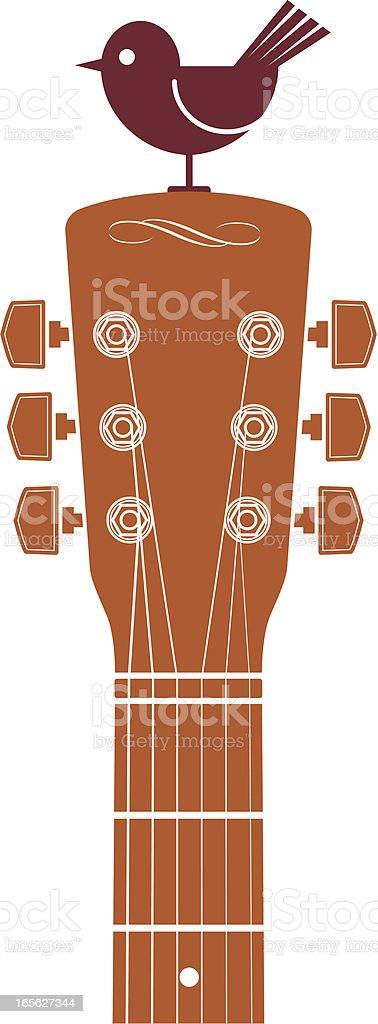 Guitar and bird vector art illustration