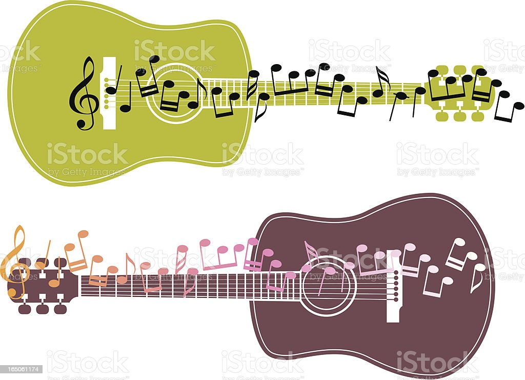 Guitar and notes royalty-free stock vector art