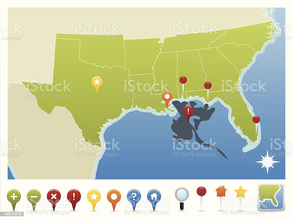 Gulf of Mexico Oil Spill Map and GPS Icons vector art illustration