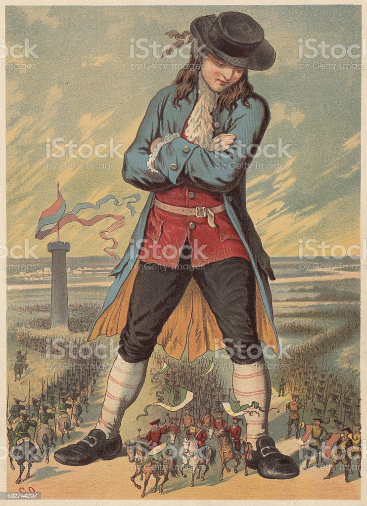 Gulliver in the island country of Lilliput, lithograph, published c.1880 royalty-free stock vector art
