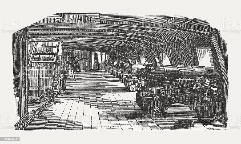 Gun battery on an old frigate, wood engraving, published 1855 vector art illustration