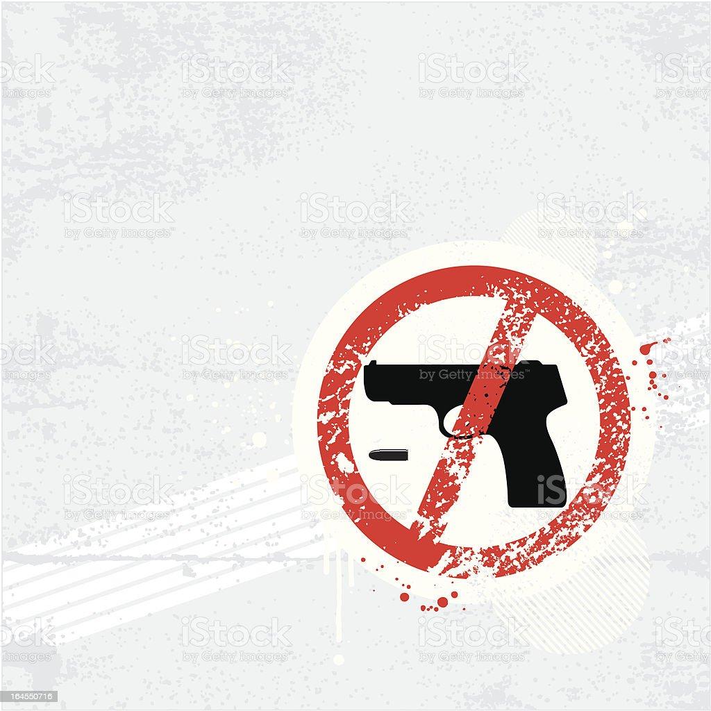 Gun Free Zone Sign graffiti royalty-free stock vector art