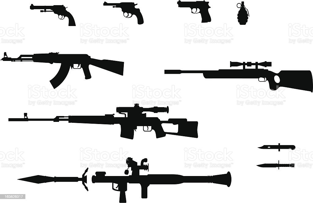 Gun silhouettes set vector art illustration