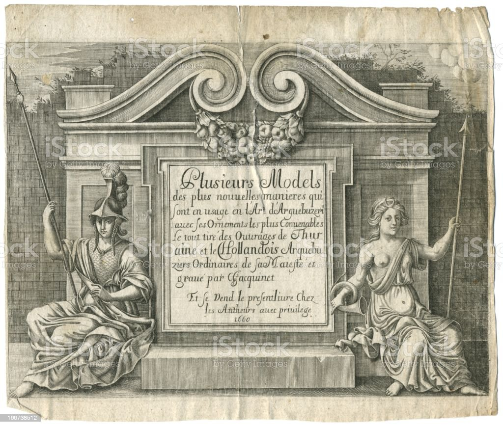 Gunsmiths 17th century Paris Show frontispiece vector art illustration