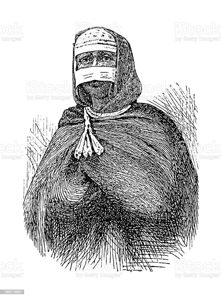 Gurage woman, Ethiopia (antique wood engraving) royalty-free stock vector art