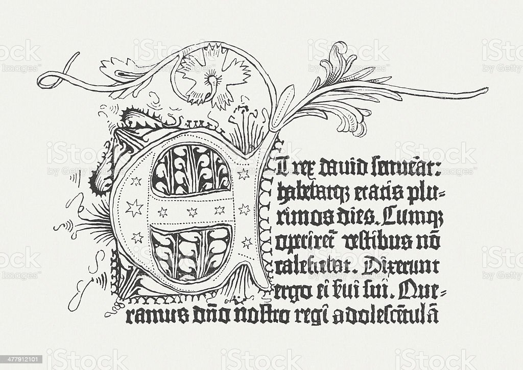 Gutenberg's Bible from 1452/54, published in 1876 vector art illustration