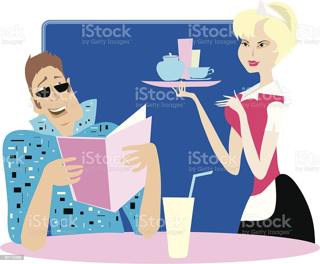 Guy and waitress vector art illustration