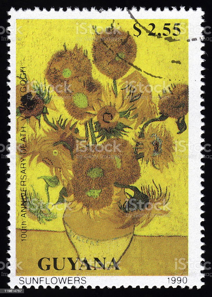 Guyana postage stamp Sunflowers By Vincent Van Gogh vector art illustration