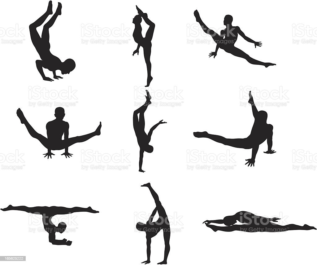 Gymnast Silhouettes vector art illustration