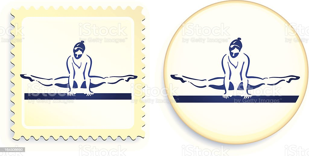 gymnast stamp and button royalty-free stock vector art