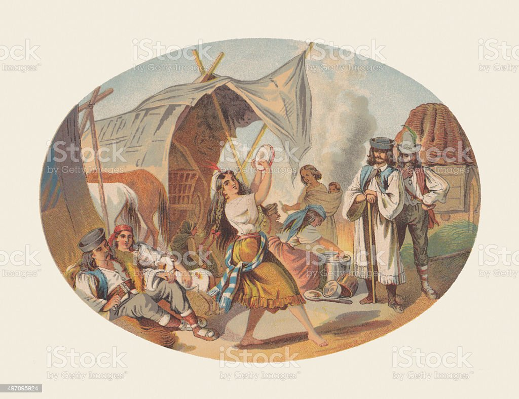 Gypsy camp with a dancing girl, lithograph, published in 1872 vector art illustration