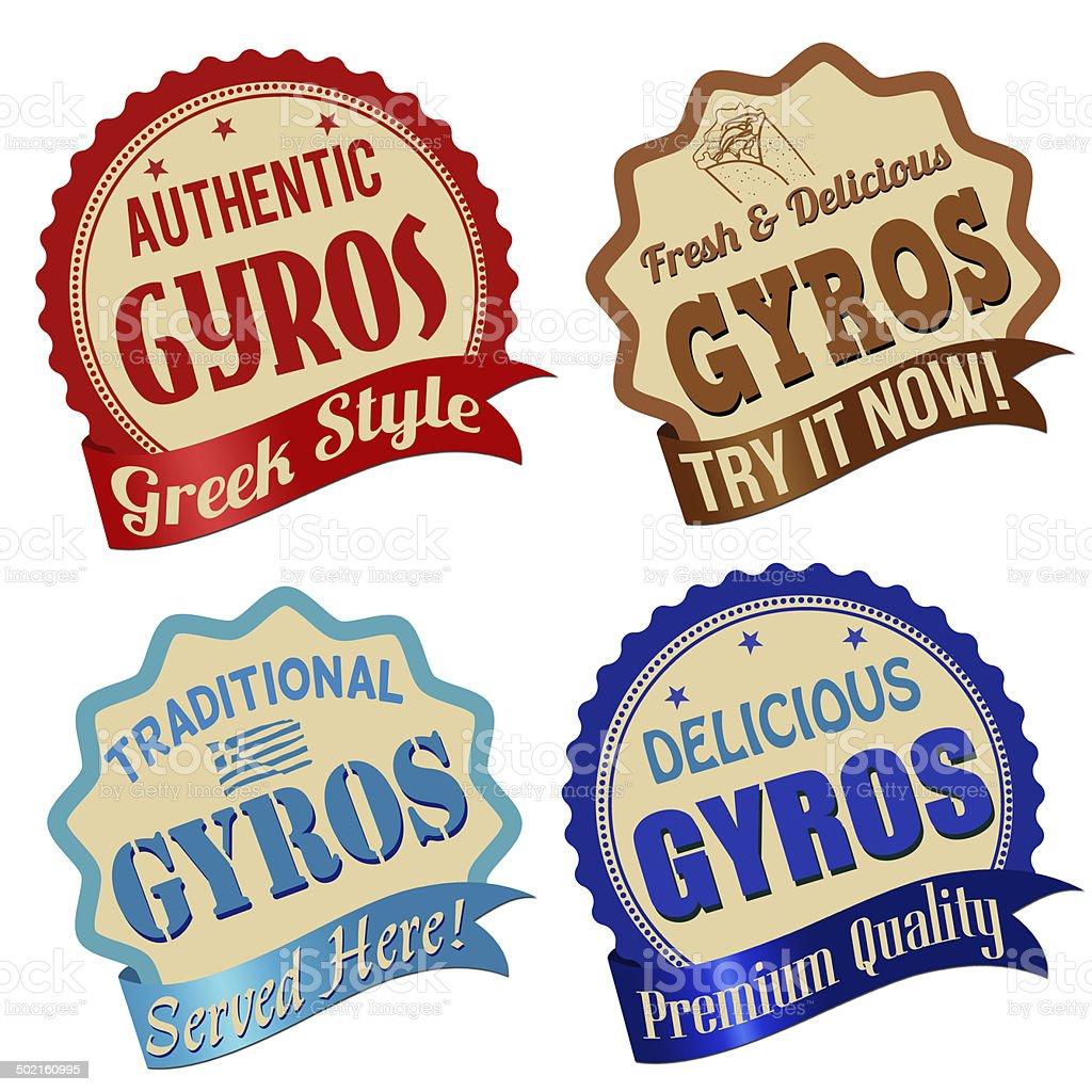 Gyros label, sticker or stamps vector art illustration