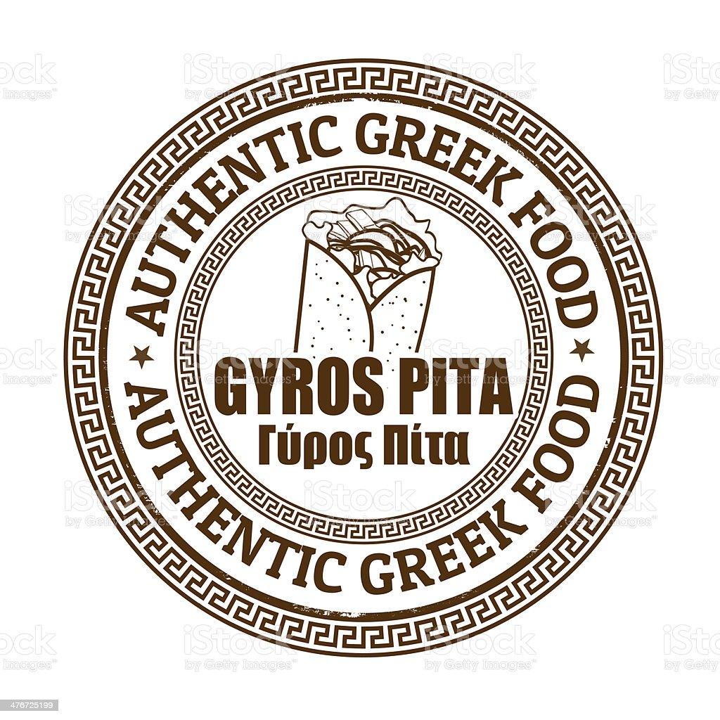 Gyros pita stamp vector art illustration