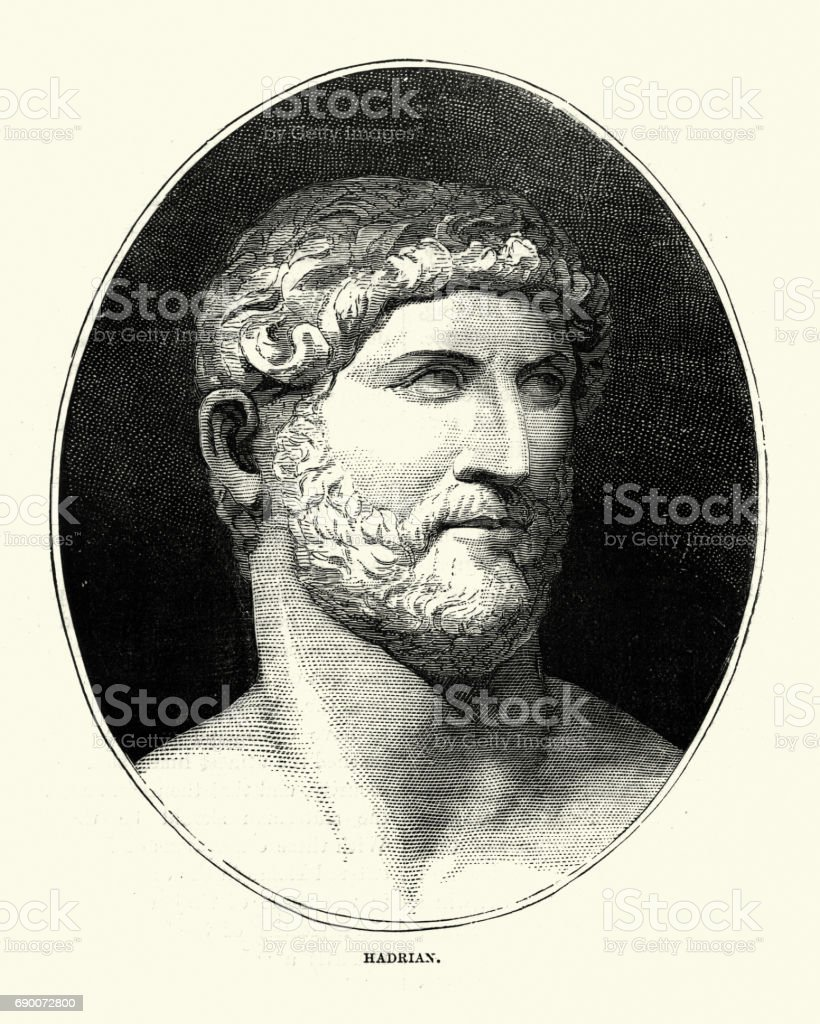 Hadrian, Roman emperor vector art illustration