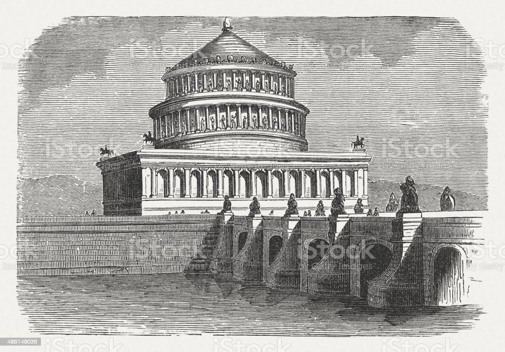 Hadrian's mausoleum and Aelian Bridge in Rome, published in 1878 vector art illustration