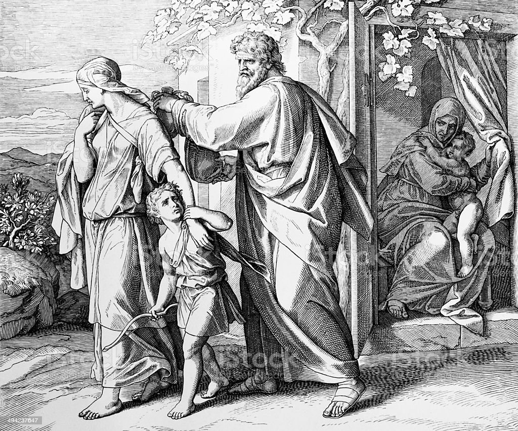 Hagar and Ishmael sent away royalty-free stock vector art