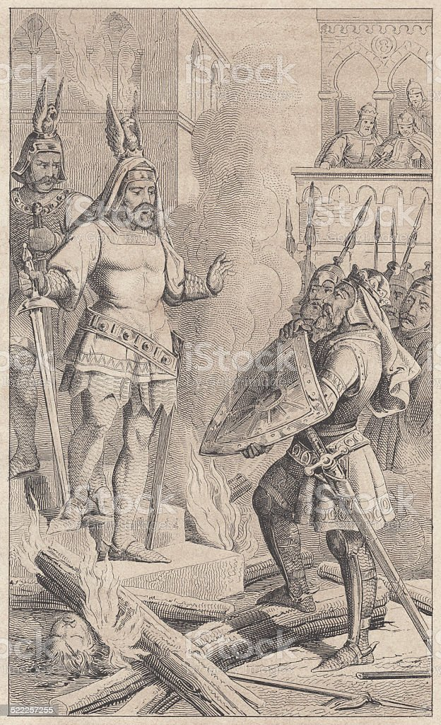 Hagen found dead Rüdiger after the battle with the Burgundians vector art illustration