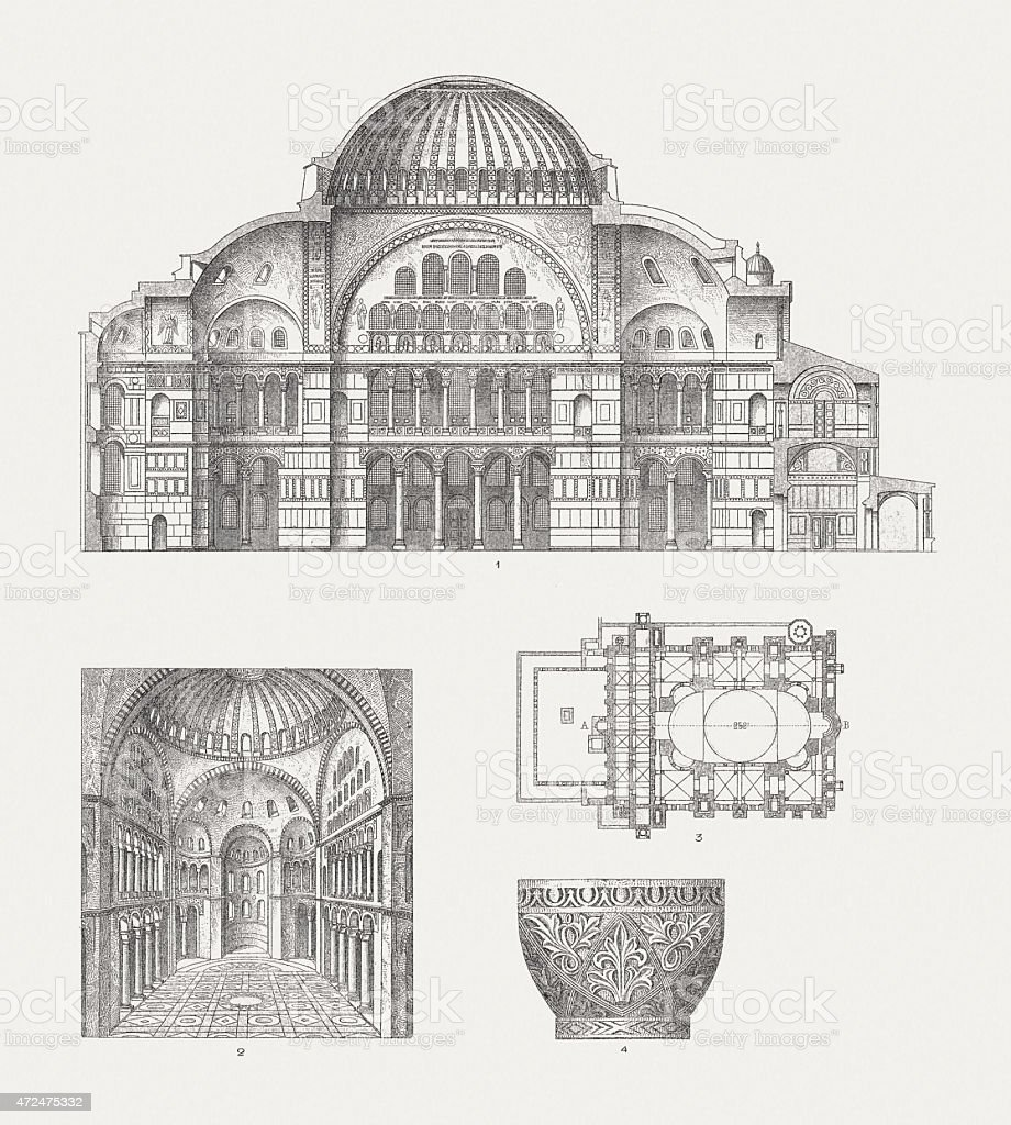 Hagia Sophia, Constantinople, wood engraving, published in 1874 vector art illustration