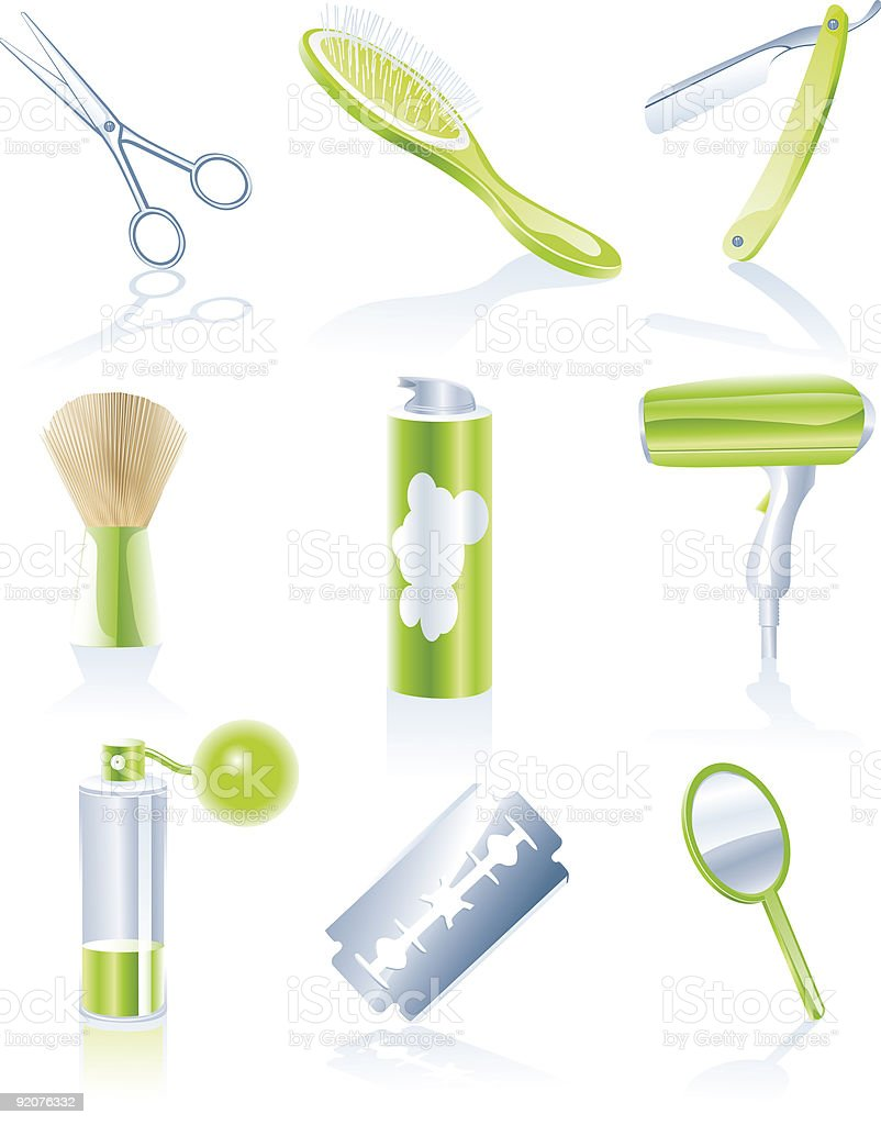 Hairdresser accessories icon set royalty-free stock vector art