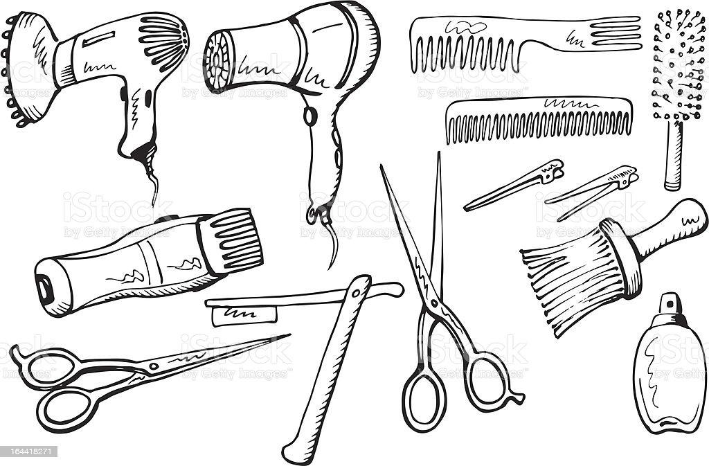 Hairdresser equipment set vector art illustration