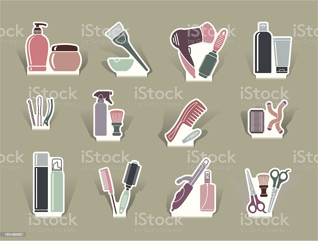 Hairdresser's accessories on cut out icons royalty-free stock vector art