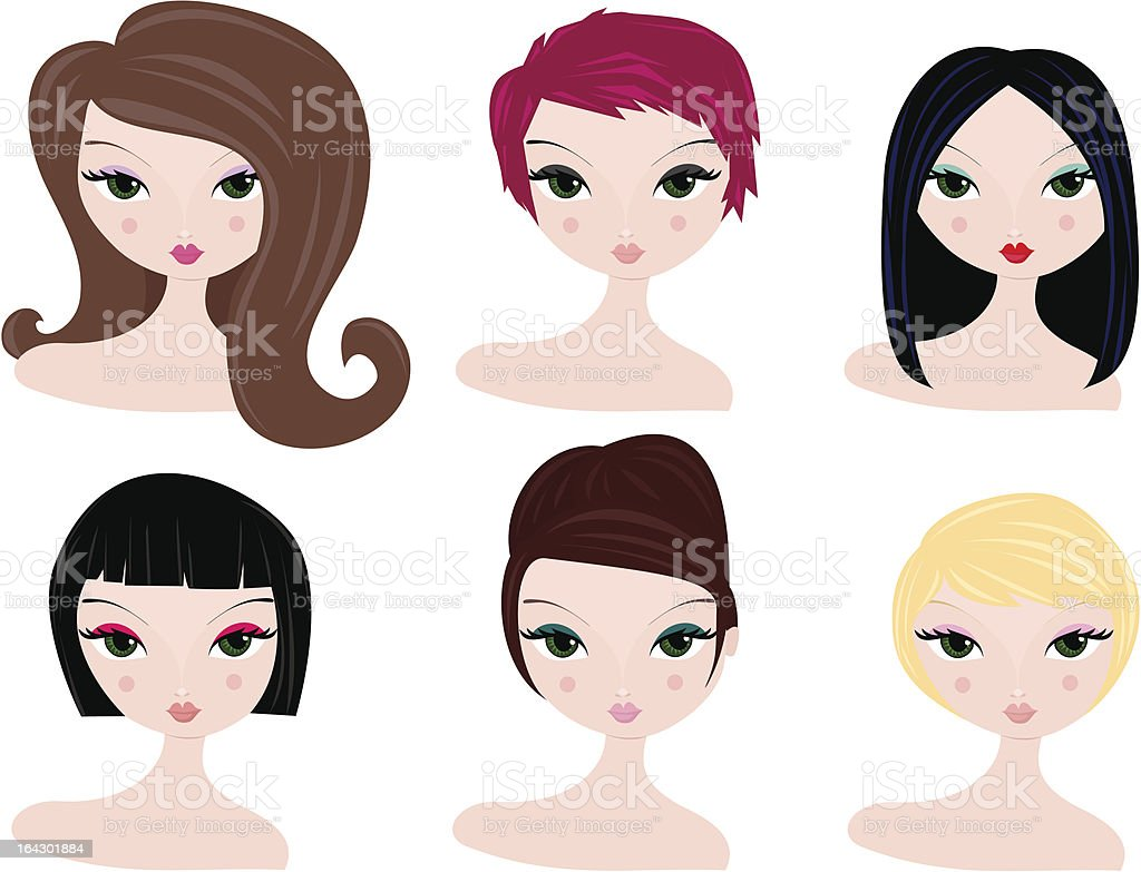 hairstyles for women royalty-free stock vector art