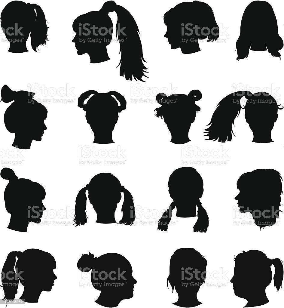 Силуэт прически группы силуэтов