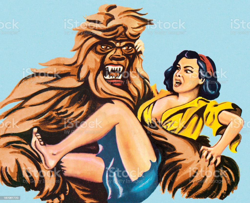 Hairy Beast Carrying Woman vector art illustration