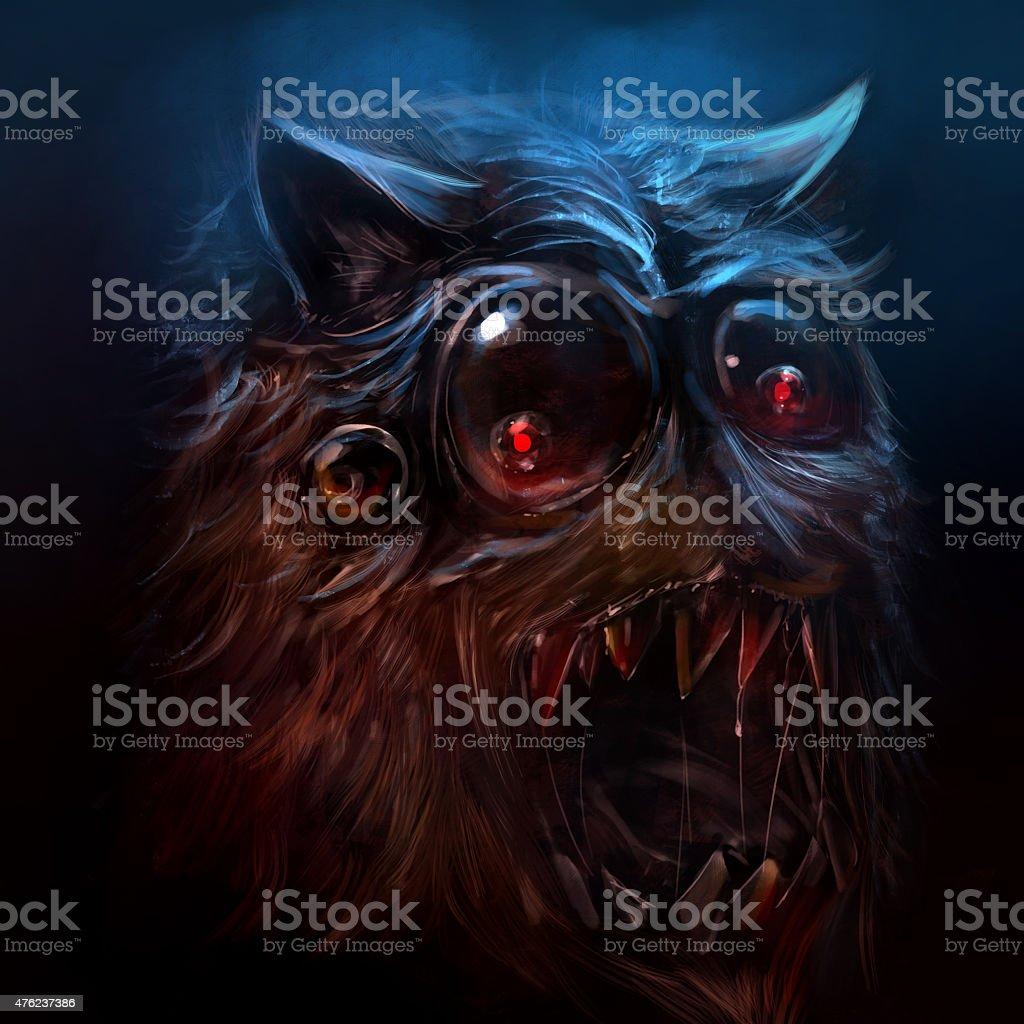 Hairy monster illustration. vector art illustration