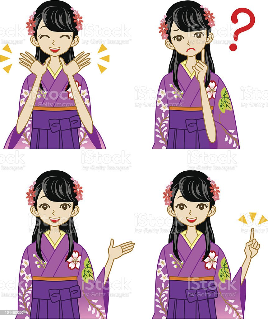 Hakama woman facial expression set royalty-free stock vector art