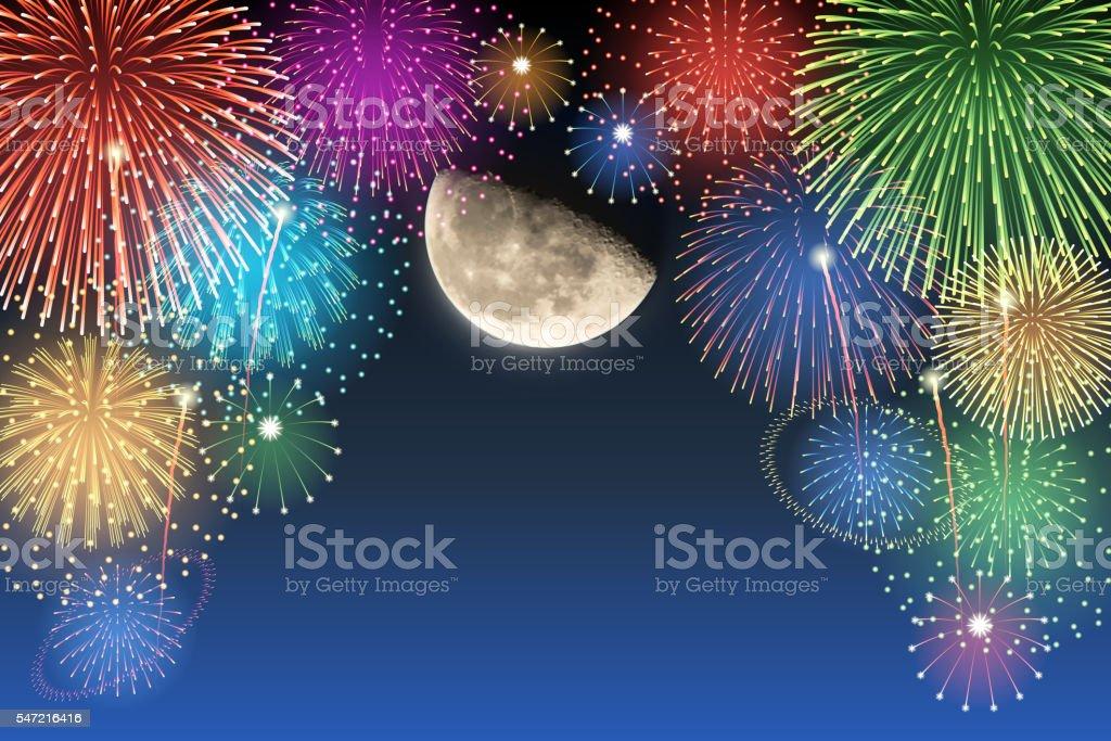 Half-moon and fireworks vector art illustration
