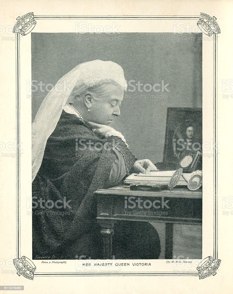Halftone portrait of Queen Victoria vector art illustration